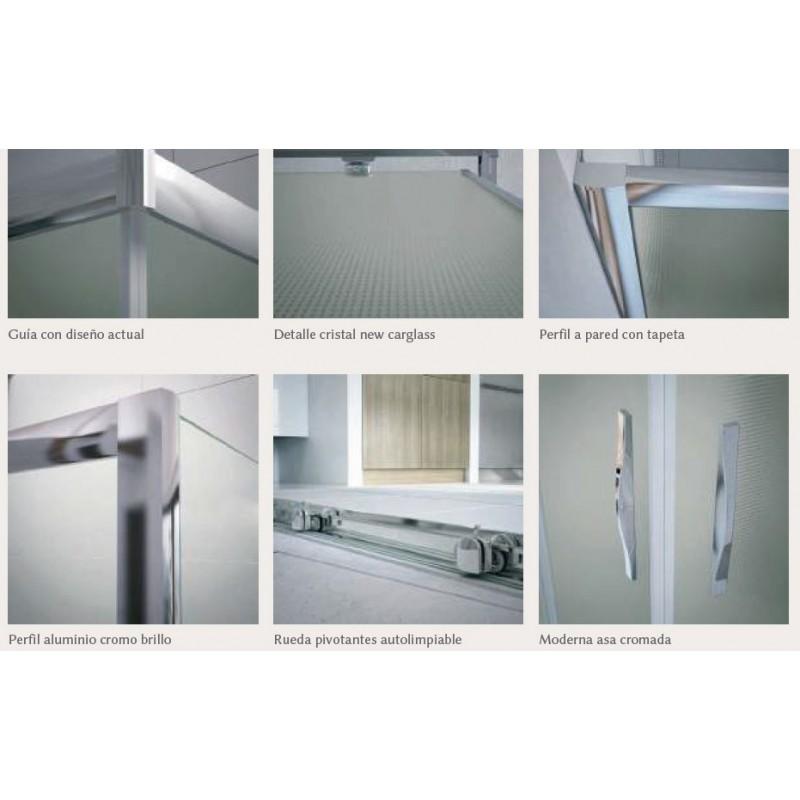 Mampara ducha rectangular 2 fijos 2 puertas transparente for Mampara ducha rectangular
