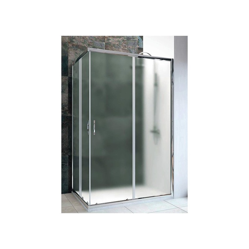 Mampara ducha rectangular 2 Fijos 2 puertas TRANSPARENTE Tempo.