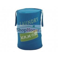 Cesta Gedy ropa sucia Laundry azul celeste.