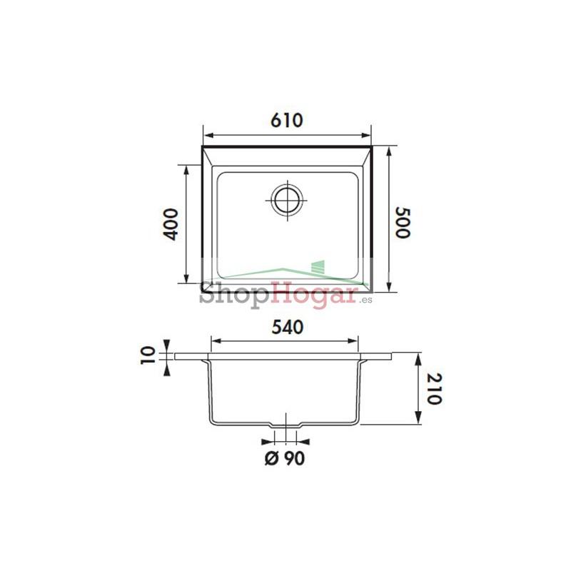 Fregadero fibra de encimera 61 x 50 cm modelo quadrille de - Fregaderos de fibra ...