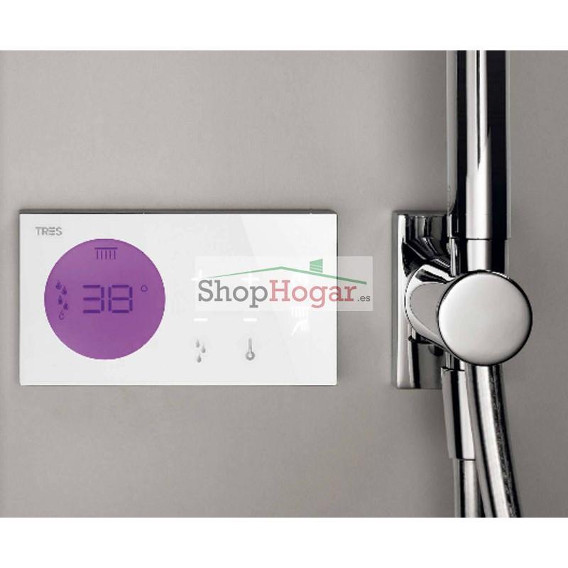 Kit De Griferia Para Baño: > Kit electrónico ducha termostático empotrado Tres Grifería