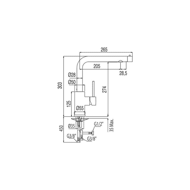 Grifo 3 vias monomando fregadero vertical para smosis for Grifos para osmosis