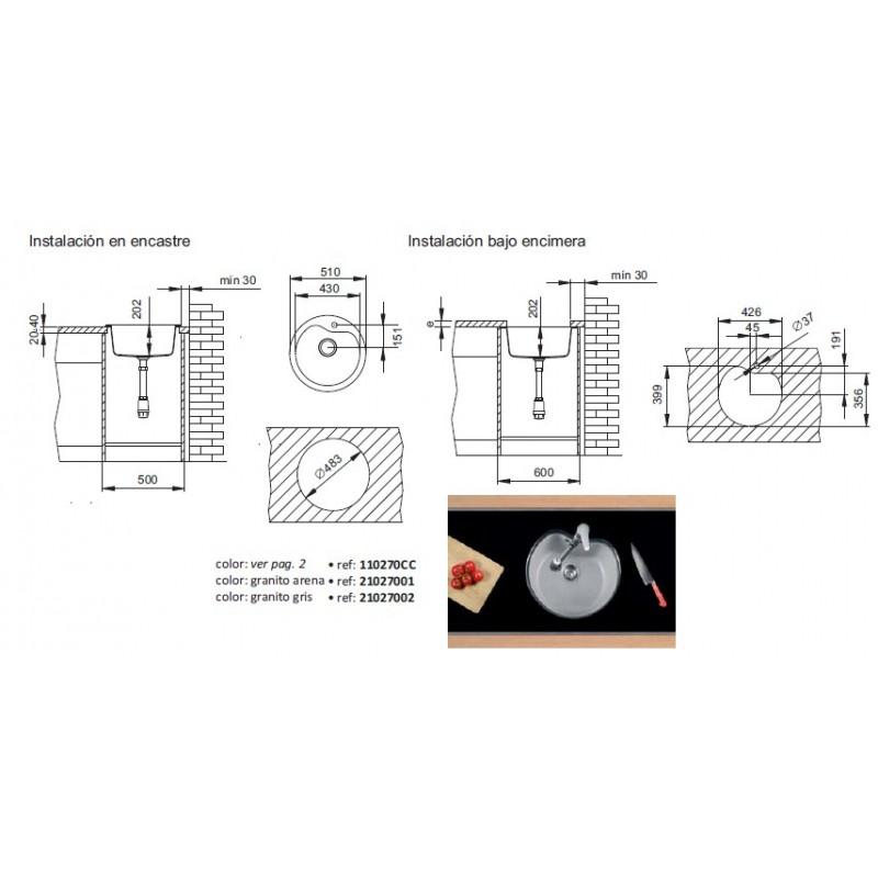 Fregadero fibra de encimera o bajo encimera 51 cm sint tika for Fregadero bajo encimera