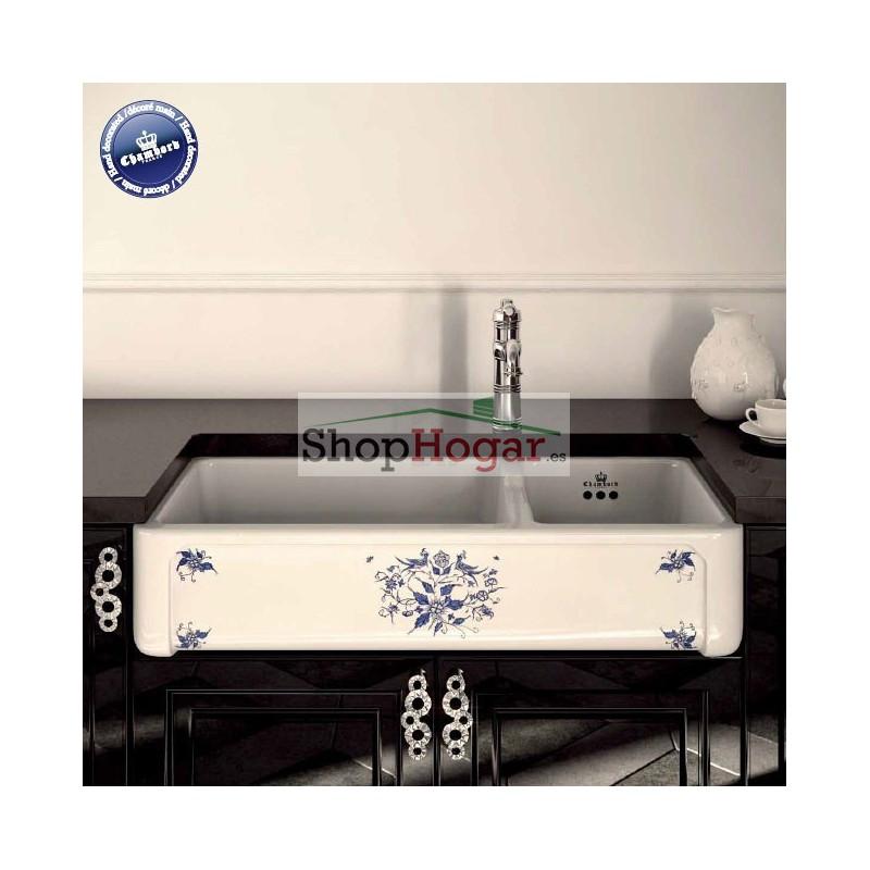 Fregadero cer mico decorado henri iii de 99 5 x 48 cm de - Fregadero de porcelana ...