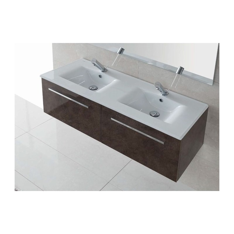 Lavabo encimera doble d nia 120 unisan 121 x 46 5 cm for Lavabo doble
