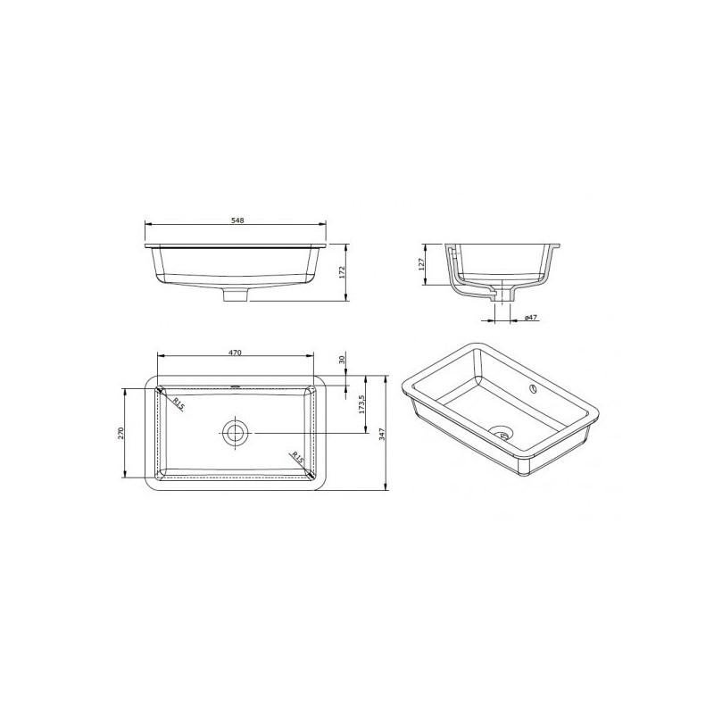 Lavabo bajo encimera agres unisan 54 8 x 34 7 cm for Lavabo bajo encimera rectangular