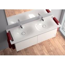 Lavabo dos senos Sobre mueble o Mural Unisan Clean 120 con toallero.
