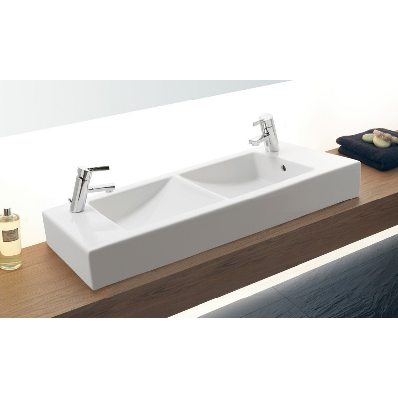 Lavabo gala doble cubeta 100x35 cm cubic for Lavabo doble