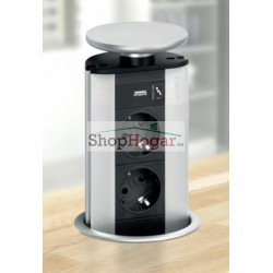 Energy box escamoteable con 2 tomas de corriente y 1 USB cargador Cucine Oggi.