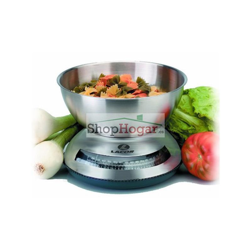 B scula de cocina con bol de lacor for Bascula cocina profesional
