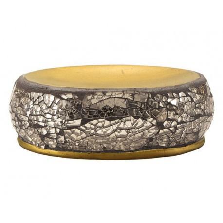 Jabonera cerámica Gedy Myosotis oro.