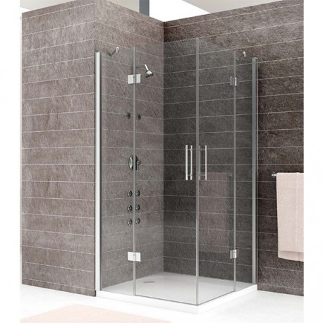 mampara ducha cuadrada 2 puertas 2 fijos transparente