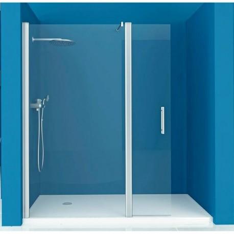 mampara ducha 1 fijo 1 puerta abatible transparente