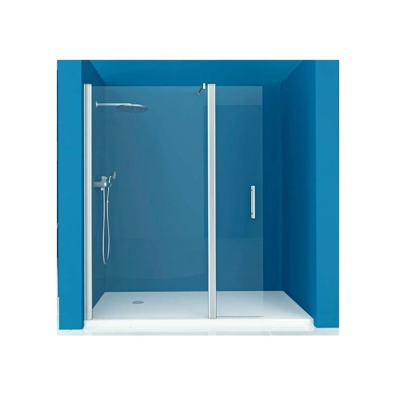 Mampara ducha 1 fijo 1 puerta abatible transparente for Mampara ducha fijo abatible