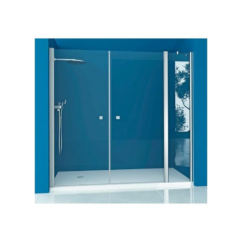 Mampara ducha frontal 1 fijo 2 puertas abatibles for Mampara ducha fijo abatible