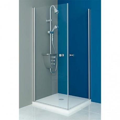 Mampara ducha cuadrada 2 puertas abatibles transparente - Mamparas de ducha puertas abatibles ...