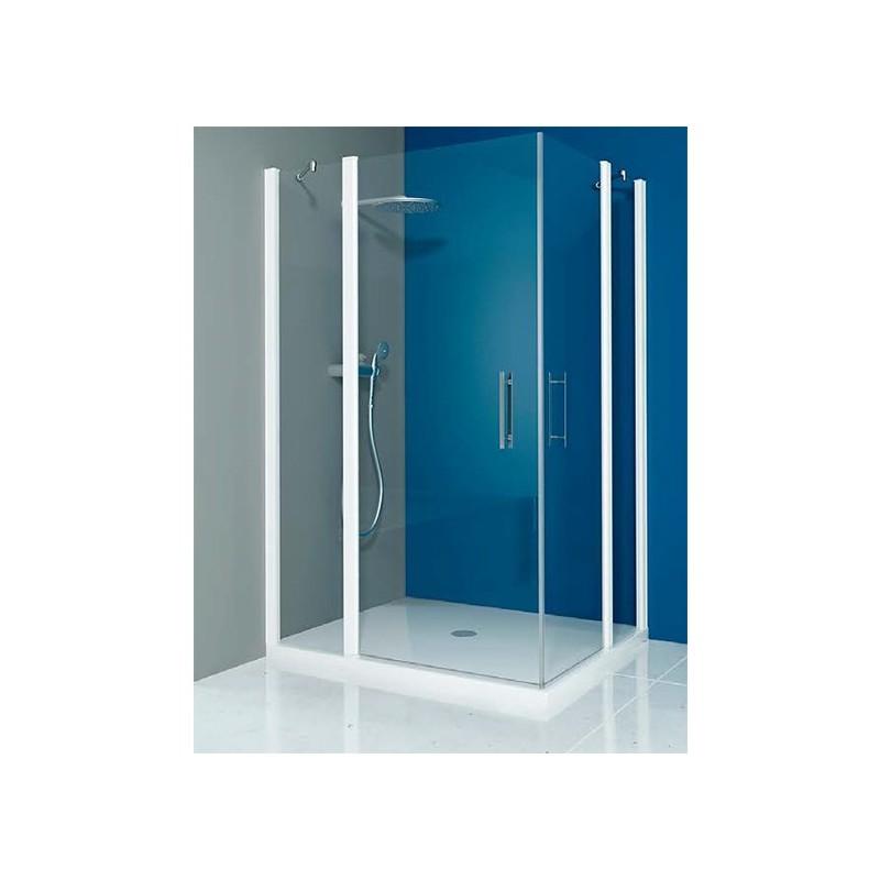 Mampara ducha cuadrada 2 fijos 2 puertas abatibles transp for Mampara ducha 70 x 90