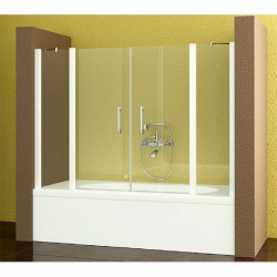 Mampara Bañera Frontal 2 fijos - 2 Puertas Abatibles TRANSPARENTE Modelo 71-4 Acquaban.